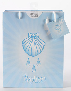 12-Pack - Large Baptism - Boy  Gift Bag with Gift Tissue