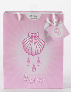 12-Pack - Large Baptism Girl Gift Bag with Gift Tissue