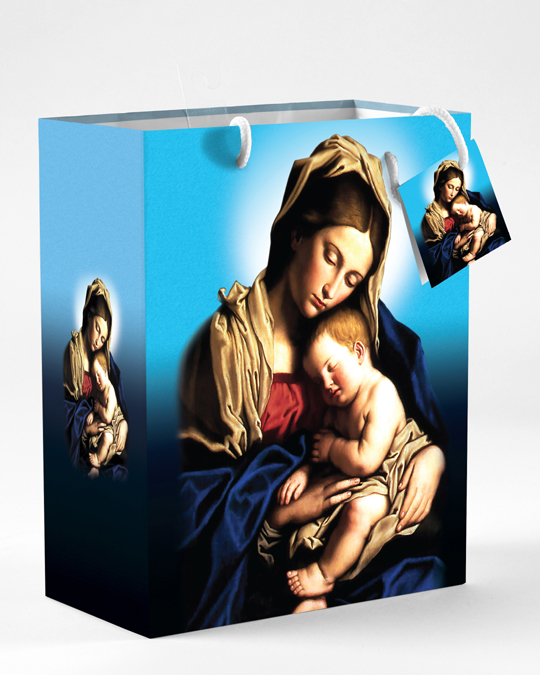 12-Pack - Large Madonna and Child Gift Bag with Gift Tissue