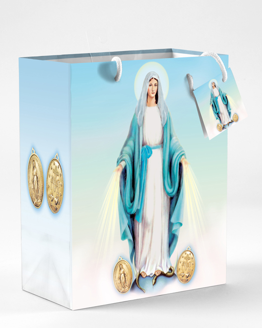 12-Pack - Large Miraculous Medal Gift Bag with Gift Tissue
