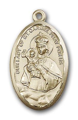 14K Gold Our Lady of Mount Carmel Pendant - Engravable