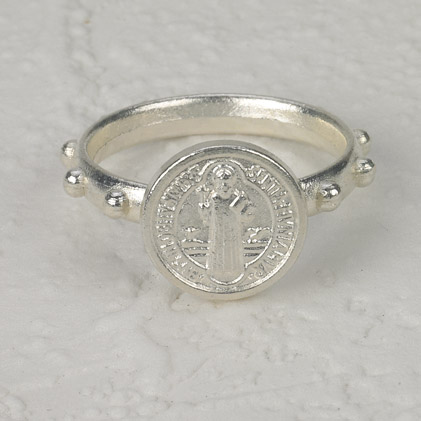 25-Pack - St Benedict Rosary Ring - Silver - SIZE 17 (SMALL)