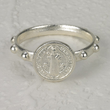 25-Pack - St Benedict Rosary Ring - Silver - SIZE 21 (LARGE)