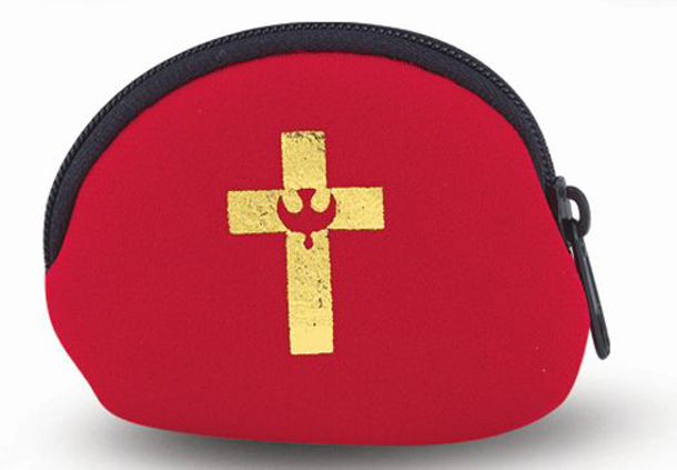 Red Rosary Case with Confirmation Symbol Gold Stamped