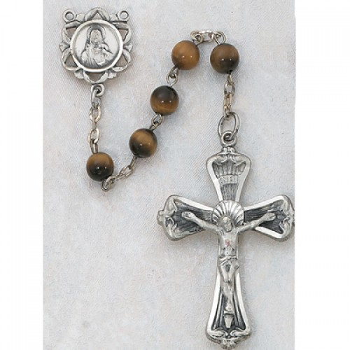 Sterling Silver 6MM Genuine Tiger Eye Rosary