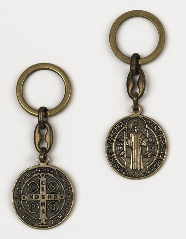 6-Pack - Saint Benedict Brass Key Ring