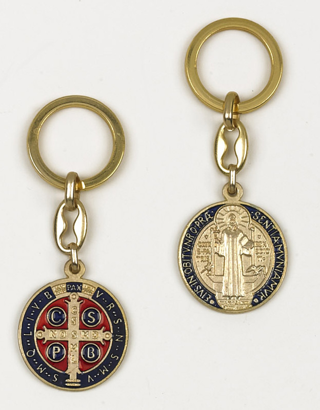6-Pack - Saint Benedict Enamel Key Ring- Gold Dark Blue/Red