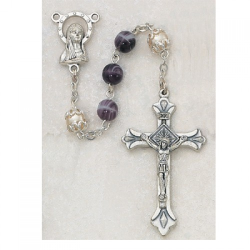 6MM Amethyst/Pearl  Rosary