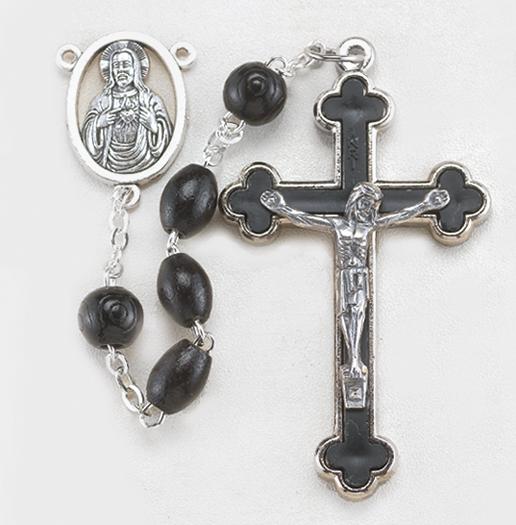 10MM Oval Black Wood Bead Rosary