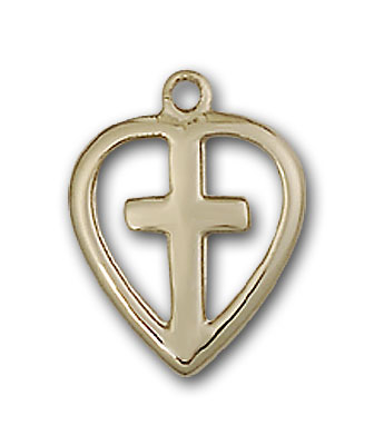 14K Gold Heart / Cross Pendant
