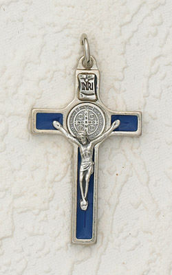 2 Inch  St Benedict Cross Blue Enamel