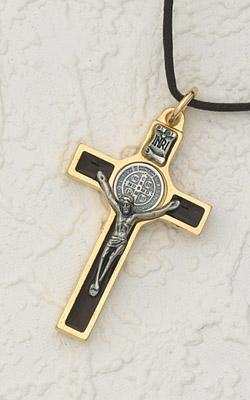 2 Inch  St Benedict Cross, Brown Enamel