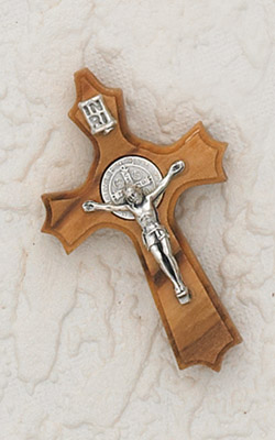 1-5/8 inch  St Benedict Cross Olive Wood - Clover Shape