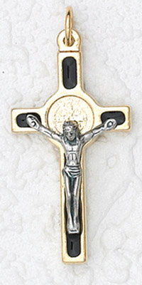 12-Pack - St Benedict Cross- Black (Small) Gold Trim with cord