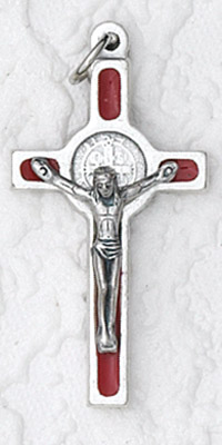 12-Pack - 1 Inch St Benedict Cross- Red (Small) Silver Trim & Silver Corpus with Cord