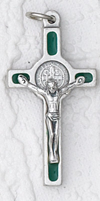 12-Pack - 1 Inch St Benedict Cross- Green (Small) Silver Trim with Silver Corpus