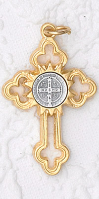 12-Pack - St Benedict Cross- White (Small) Gold- with Cord