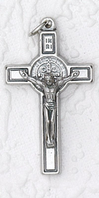 12-Pack - 1 Inch St Benedict Cross- Silver/Black with Cord