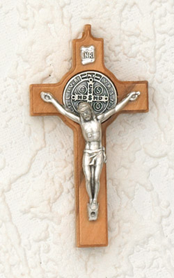 St Benedict Wood Cross- 2-1/2 inch with Silver Corpus