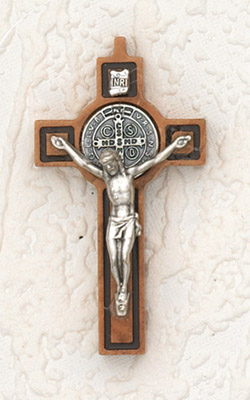 St Benedict Wood Cross with Black In-lining- 2-1/2 inch