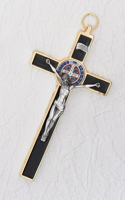 8 Inch Black / Gold Enamel Saint Benedict Cross