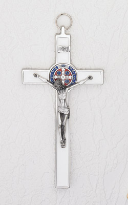 8 Inch White Enamel Saint Benedict Cross
