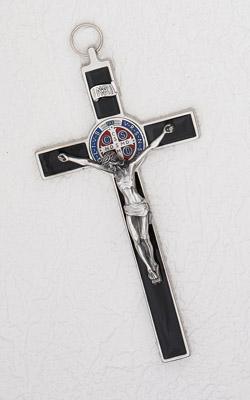 8 Inch Black Enamel Saint Benedict Cross