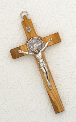 8 Inch Olive Wood Saint Benedict Cross