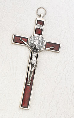 8 inch Pearl Red St Benedict Crucifix Boxed