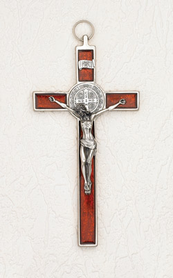 8 inch Pearl Orange Red St Benedict Crucifix Boxed