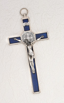 8 inch Pearl Blue St Benedict Crucifix Boxed