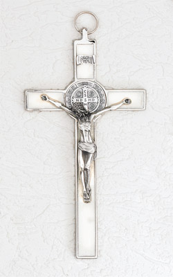 8 inch Pearl St Benedict Crucifix Boxed