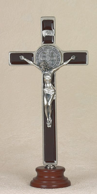8 inch Brown St Benedict Enameled Crucifix