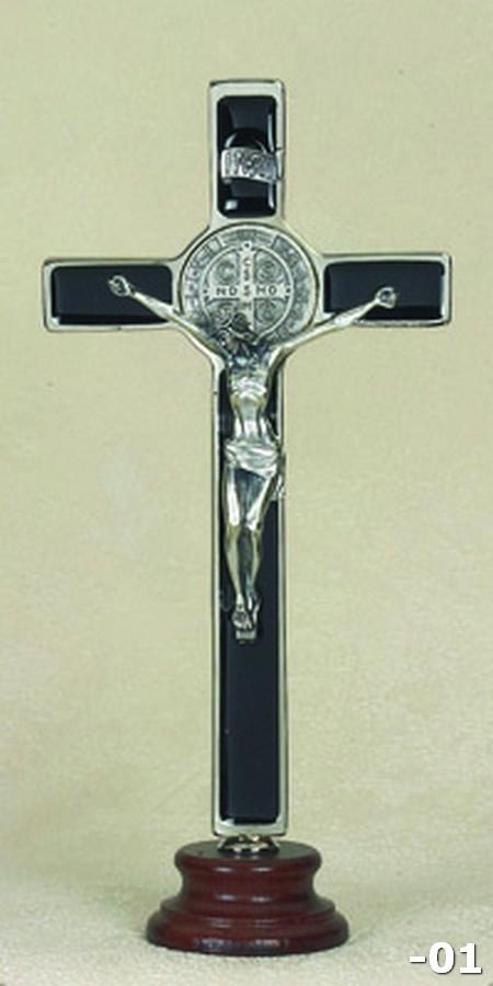 8 inch Black St Benedict Enameled Crucifix