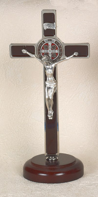 8 inch Black St Benedict Enameled Crucifix with Enamel Pendant