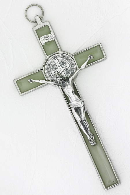 8 inch Luminous Silver St Benedict Hanging Crucifix Boxed