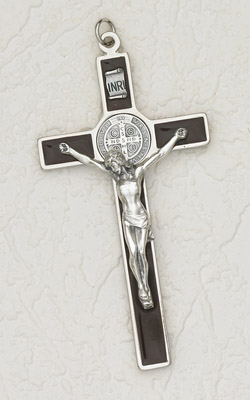 "45"" Saint Benedict Hanging Wall Cross Silver/ Black"