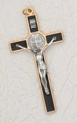 "45"" Gold/Black Saint Benedict Hanging Wall Cross"