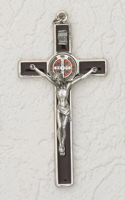 "45"" Saint Benedict Hanging Wall Cross Brown with Enamel Pendant Light Brown"