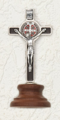"3"" Deluxe with enameled Pendant Brown St Benedict Cross on Base"