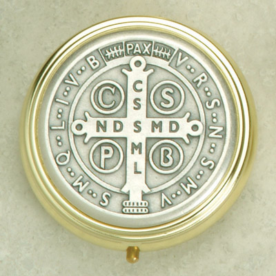 Silver Plated Pyx with Saint Benedict