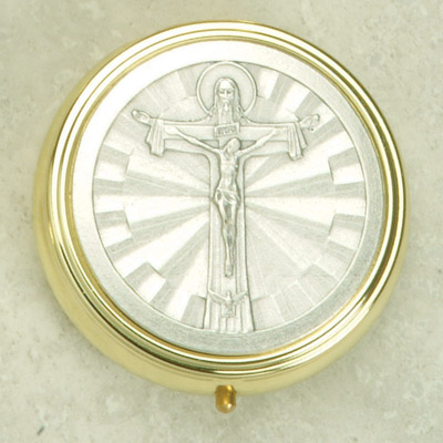 Silver Plated Pyx with Holy Trinity Cross