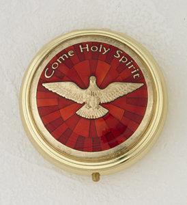 Red Enamel with Gold Plated Holy Spirit Pyx