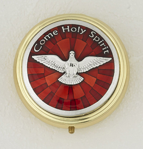 Red Enamel with Gold Plated and Silver Holy Spirit Pyx