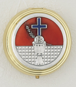 Red Enameled Chalice with Cross Pyx