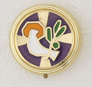 Purple Enameled with White Holy Spirit Pyx