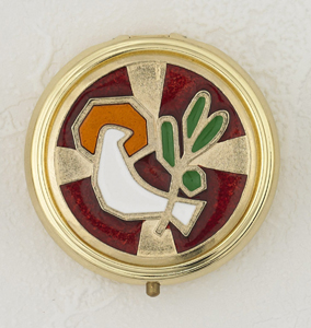 Red Enameled with White Holy Spirit Pyx