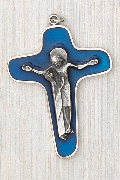 3-1/2 Inch Cross with Mary/Jesus- Blue Enamel