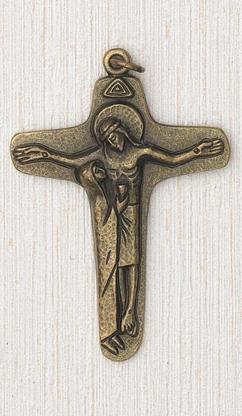 3-1/2 Inch Brass Cross with Mary/Jesus