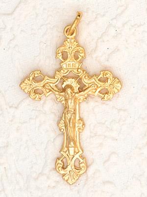 25-Pack - Fleur di Lis Crucifix (Gold) - 1-3/4 inch